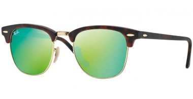 Sunglasses - Ray-Ban® - Ray-Ban® RB3016 CLUBMASTER - 114519 SAND HAVANA GOLD // GREY MIRROR GREEN