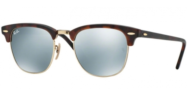 Sunglasses - Ray-Ban® - Ray-Ban® RB3016 CLUBMASTER - 114530 SAND HAVANA GOLD // LIGHT GREEN MIRROR SILVER