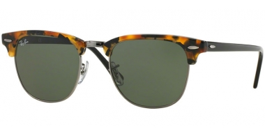 Sunglasses - Ray-Ban® - Ray-Ban® RB3016 CLUBMASTER - 1157 SPOTTED BLACK HAVANA // GREEN