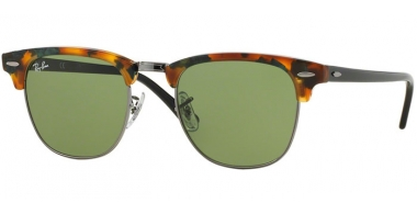 Sunglasses - Ray-Ban® - Ray-Ban® RB3016 CLUBMASTER - 11594E SPOTTED GREEN HAVANA // GREEN