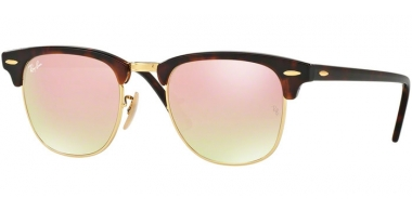 Sunglasses - Ray-Ban® - Ray-Ban® RB3016 CLUBMASTER - 990/7O SHINY RED HAVANA // COPPER FLASH GRADIENT