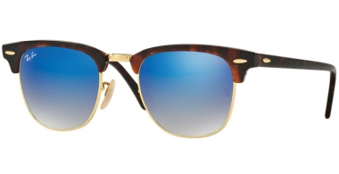 Sunglasses - Ray-Ban® - Ray-Ban® RB3016 CLUBMASTER - 990/7Q SHINY RED HAVANA // BLUE FLASH GRADIENT