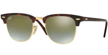 Sunglasses - Ray-Ban® - Ray-Ban® RB3016 CLUBMASTER - 990/9J SHINY RED HAVANA // GREEN FLASH GRADIENT