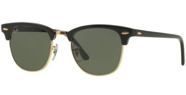 Sunglasses - Ray-Ban® - Ray-Ban® RB3016 CLUBMASTER - W0365 EBONY ARISTA // CRYSTAL GREEN