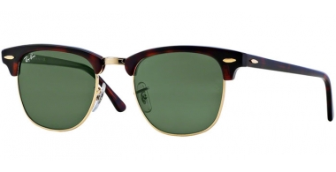 Sunglasses - Ray-Ban® - Ray-Ban® RB3016 CLUBMASTER - W0366 MOCK TORTOISE ARISTA // CRYSTAL GREEN