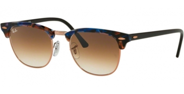 Sunglasses - Ray-Ban® - Ray-Ban® RB3016 CLUBMASTER - 125651 SPOTTED BROWN BLUE // BROWN GRADIENT