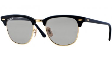 Sunglasses - Ray-Ban® - Ray-Ban® RB3016 CLUBMASTER - 901SP2 MATTE BLACK // GREY POLARIZED