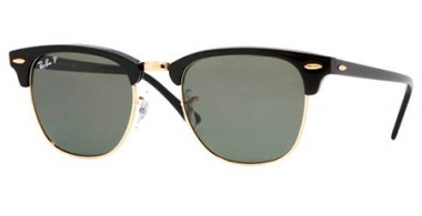 Sunglasses - Ray-Ban® - Ray-Ban® RB3016 CLUBMASTER - 901/58 BLACK // CRYSTAL GREEN POLARIZED