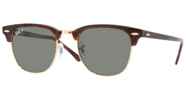 Sunglasses - Ray-Ban® - Ray-Ban® RB3016 CLUBMASTER - 990/58 RED HAVANA // CRYSTAL GREEN POLARIZED