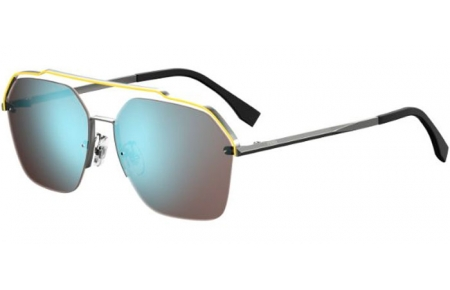 Sunglasses - Fendi - FF M0032/S - MVU (3J) SILVER YELLOW // AZURE MIRROR