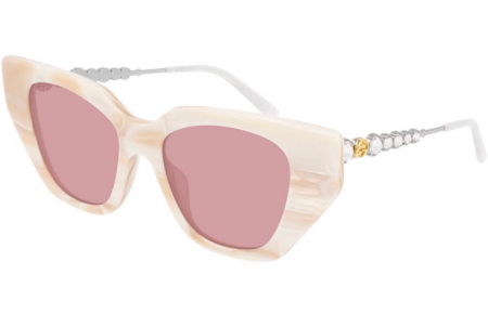 Sunglasses - Gucci - GG0641S - 004 WHITE MARBLE // PINK