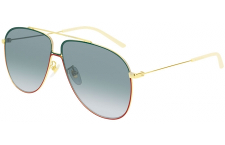 Sunglasses - Gucci - GG0440S - 004 GOLD // GREEN GRADIENT