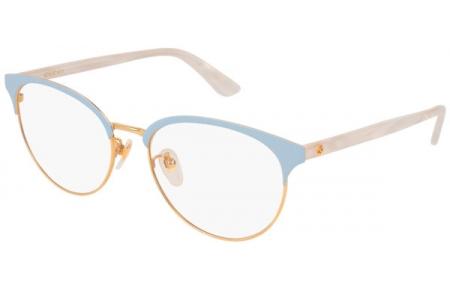 e0b57df764 Monturas - Gucci - GG0249OA - 004 GOLD BLUE WHITE