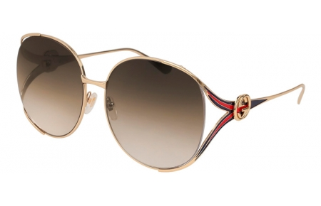 Sunglasses - Gucci - GG0225S - 002 GOLD // BROWN GRADIENT
