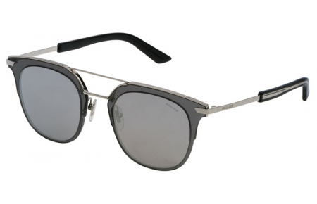 Sunglasses - Police - SPL584 HALO 4 - 579X GREY SHINY PALLADIUM // GREY MIRROR SILVER