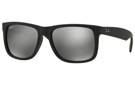 87f1c9fab35 RUBBER BLACK    GREY MIRROR SILVER. Gafas de Sol - Ray-Ban® - Ray-Ban® RB4165  JUSTIN -