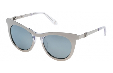 Sunglasses - Carolina Herrera New York - SHN043M - 579X SHINY PALLADIUM // GREY SILVER MIRROR