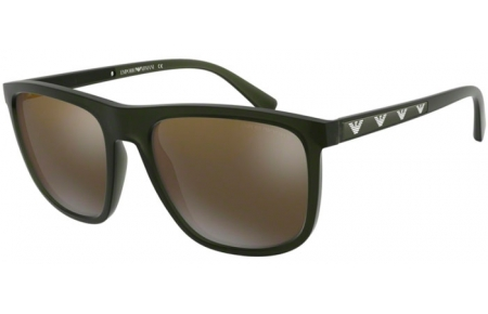Sunglasses - Emporio Armani - EA4124 - 57254T MATTE OPAL GREEN // DARK GREY MIRROR GOLD