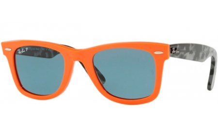 Sunglasses - Ray-Ban® - Ray-Ban® RB2140 ORIGINAL WAYFARER - 124252 ORANGE // BLUE POLARIZED