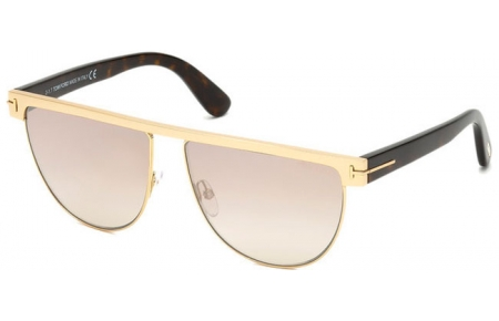Sunglasses - Tom Ford - STEPHANIE-02 FT0570 - 28G SHINY GOLD // LIGHT BROWN PINK MIRROR