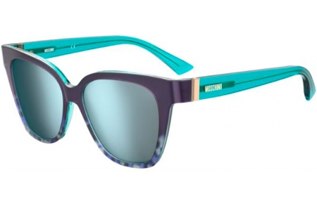 Sunglasses - Moschino - MOS066/S - 9PD (3J) ANIMAL AZURE // AZURE MIRROR