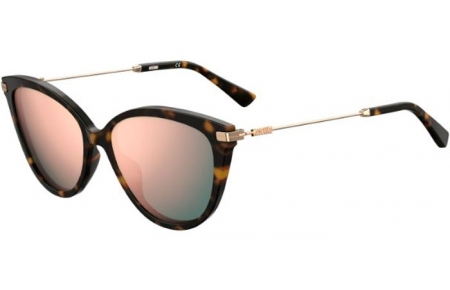 Sunglasses - Moschino - MOS069/S - 086 (0J) DARK HAVANA // GREY ROSE GOLD MIRROR