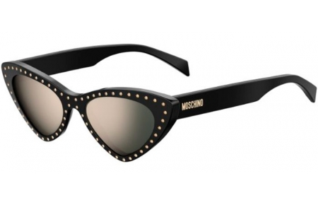Sunglasses - Moschino - MOS006/S - 2M2 (UE) BLACK GOLD // GREY IVORY MIRROR