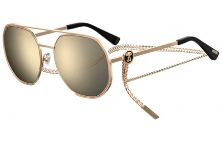 Sunglasses - Moschino - MOS052/S - 000 (UE) ROSE GOLD // GREY IVORY MIRROR