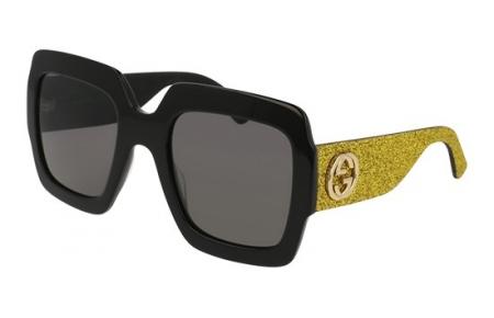 3dd2faaaee Gafas de Sol - Gucci - GG0102S - 002 BLACK GLITTER YELLOW GOLD // GREY
