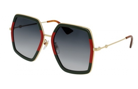 Sunglasses - Gucci - GG0106S - 007 RED STRIPED GREEN GOLD // GREY GRADIENT