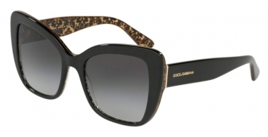 Sunglasses - Dolce & Gabbana - DG4348 - 32158G BLACK ON DAMASCUS GLITTER BLACK // GREY GRADIENT