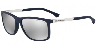 Sunglasses - Emporio Armani - EA4058 - 57596G DARK BLUE RUBBER // LIGHT GREY MIRROR SILVER
