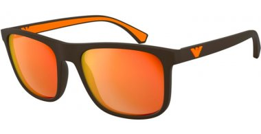 Sunglasses - Emporio Armani - EA4129 - 5752F6 MATTE BROWN // ORANGE MIRROR GOLD