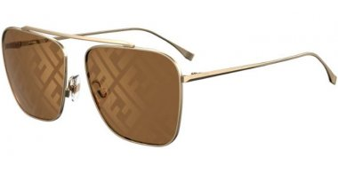 Sunglasses - Fendi - FF 0406/S - 01Q (EB) GOLD BROWN // BROWN DECORED GOLD