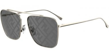 Sunglasses - Fendi - FF 0406/S - 2F7 (MD) GOLD GREY // GREY DECORED SILVER