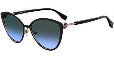 Sunglasses - Fendi - FF 0413/S - 2M2 (GB) BLACK GOLD // GREY GRADIENT AZURE
