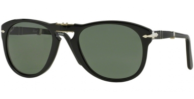 Sunglasses - Persol - PO0714 FOLDING - 95/58 BLACK // CRYSTAL GREEN POLARIZED