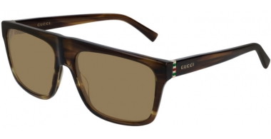 Sunglasses - Gucci - GG0450S - 004 BROWN STRIPED // LIGHT BROWN
