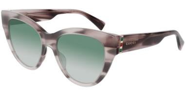 Sunglasses - Gucci - GG0460S - 005 GREY STRIPED // GREEN GRADIENT
