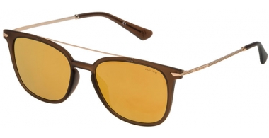 Sunglasses - Police - SPL360N HIGHWAY TWO 2 - V99G  MATTE BROWN // BROWN MIRROR GOLD ANTIREFLECTION