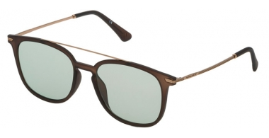 Sunglasses - Police - SPL360N HIGHWAY TWO 2 - W45M  SEMI MATTE TRANSPARENT BROWN // GREY GREEN ANTIREFLECTION