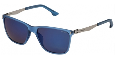 Sunglasses - Police - SPL365 FLOW 2 - J15B SEMI MATTE BLUE // BROWN BLUE POLARIZED