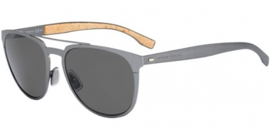 Sunglasses - BOSS Hugo Boss - BOSS 0882/S - 0S5 (NR) METAL DARK RUTHENIUM // BROWN GREY