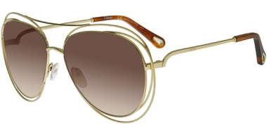 Sunglasses - Chloé - CE134S CARLINA - 791 GOLD HAVANA // BROWN GRADIENT