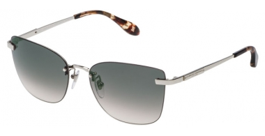 Sunglasses - Carolina Herrera New York - SHN039M - 0579 SHINY PALLADIUM // GREEN GRADIENT POWDER