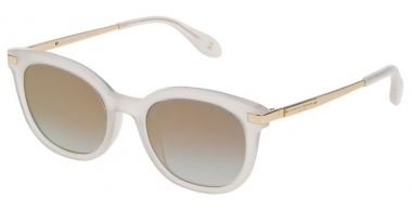 Sunglasses - Carolina Herrera New York - SHN570M - 092Y SHINY WHITE // BLUE GRADIENT MIRROR GOLD