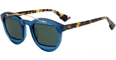 Sunglasses - Dior - DIORMANIA1 - 889 (QT) SOFT BLUE GREEN HAVANA // GREEN