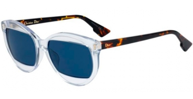 Sunglasses - Dior - DIORMANIA2 - T6V (KU) CRYSTAL DARK HAVANA // BLUE GREY