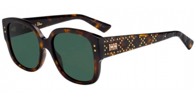 Sunglasses - Dior - LADYDIORSTUDS - 086 (O7) DARK HAVANA // GREEN LIGHT GREEN ANTIREFLECTION