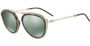 Sunglasses - Emporio Armani - EA2056 - 30026R MATTE PALE GOLD GREEN HAVANA // LIGHT GREEN MIRROR PETROLEOUM